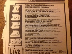 A typical I-Beam calendar in mid-1990. Smoking Section on Friday the 13th!